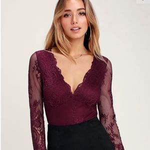All About That Lace Burgundy Lace Long Sleeve Body